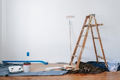 Ladder in a renovated room of an updated home